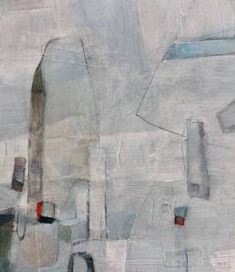 Abstract painting in whites and greys with blue and red highlights